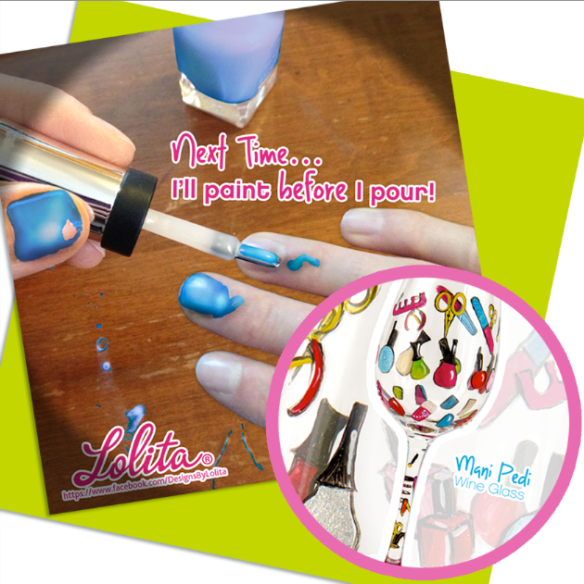 LOLITA Mani Pedi Wine Glass Post Collage Small